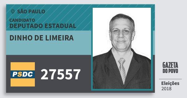 Santinho Dinho de Limeira 27557 (DC) Deputado Estadual | São Paulo | Eleições 2018
