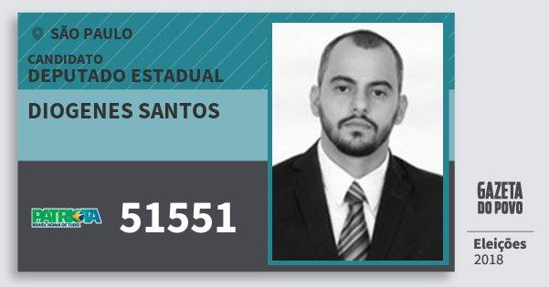 Santinho Diogenes Santos 51551 (PATRI) Deputado Estadual | São Paulo | Eleições 2018