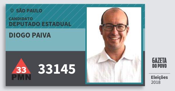 Santinho Diogo Paiva 33145 (PMN) Deputado Estadual | São Paulo | Eleições 2018