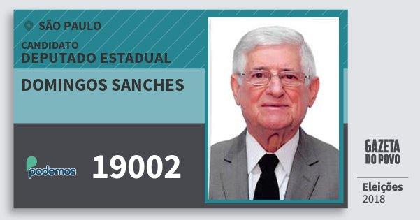 Santinho Domingos Sanches 19002 (PODE) Deputado Estadual | São Paulo | Eleições 2018