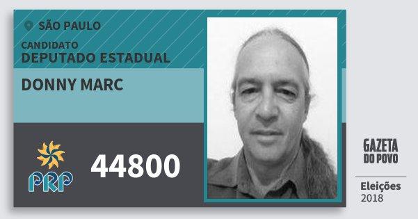 Santinho Donny Marc 44800 (PRP) Deputado Estadual | São Paulo | Eleições 2018
