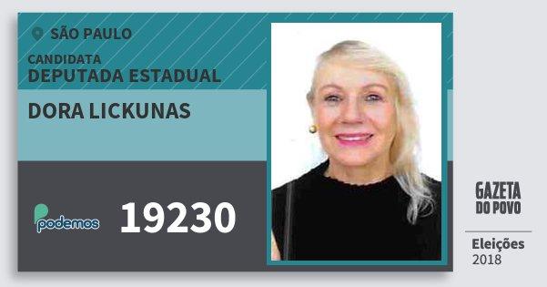 Santinho Dora Lickunas 19230 (PODE) Deputada Estadual   São Paulo   Eleições 2018