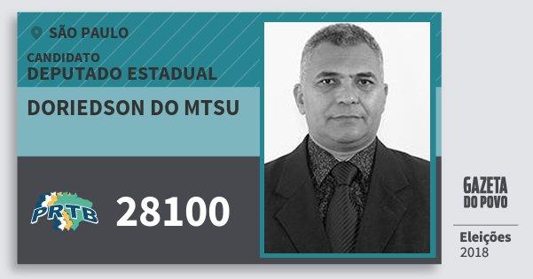 Santinho Doriedson do Mtsu 28100 (PRTB) Deputado Estadual | São Paulo | Eleições 2018
