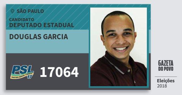 Santinho Douglas Garcia 17064 (PSL) Deputado Estadual | São Paulo | Eleições 2018