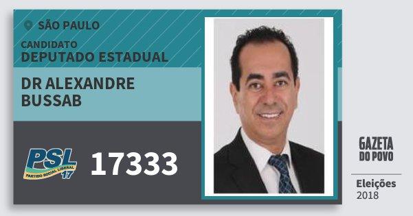 Santinho Dr Alexandre Bussab 17333 (PSL) Deputado Estadual | São Paulo | Eleições 2018