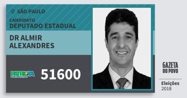 Santinho Dr Almir Alexandres 51600 (PATRI) Deputado Estadual | São Paulo | Eleições 2018