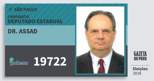 Santinho Dr. Assad 19722 (PODE) Deputado Estadual | São Paulo | Eleições 2018