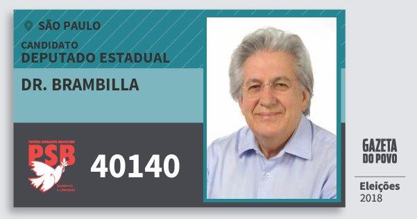 Santinho Dr. Brambilla 40140 (PSB) Deputado Estadual | São Paulo | Eleições 2018