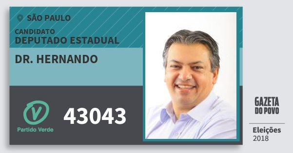 Santinho Dr. Hernando 43043 (PV) Deputado Estadual | São Paulo | Eleições 2018