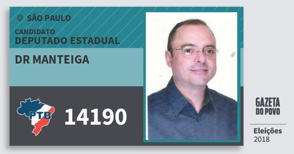 Santinho Dr Manteiga 14190 (PTB) Deputado Estadual | São Paulo | Eleições 2018