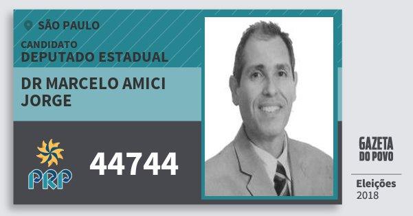Santinho Dr Marcelo Amici Jorge 44744 (PRP) Deputado Estadual | São Paulo | Eleições 2018
