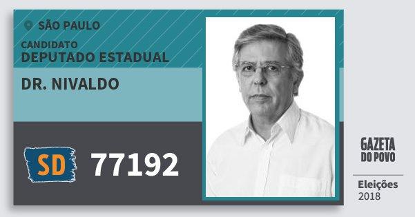 Santinho Dr. Nivaldo 77192 (SOLIDARIEDADE) Deputado Estadual | São Paulo | Eleições 2018