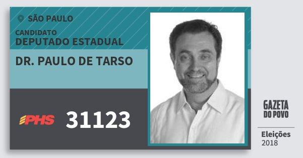 Santinho Dr. Paulo de Tarso 31123 (PHS) Deputado Estadual | São Paulo | Eleições 2018