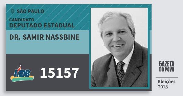 Santinho Dr. Samir Nassbine 15157 (MDB) Deputado Estadual | São Paulo | Eleições 2018