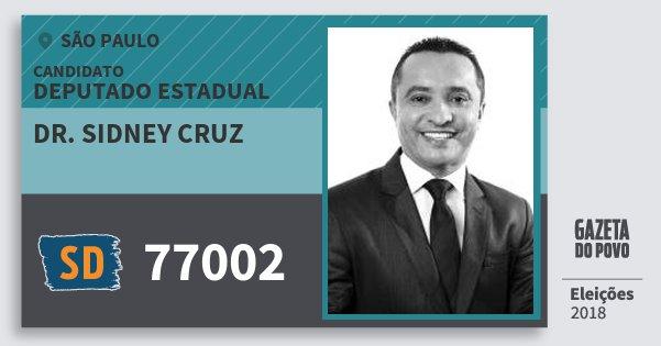 Santinho Dr. Sidney Cruz 77002 (SOLIDARIEDADE) Deputado Estadual | São Paulo | Eleições 2018