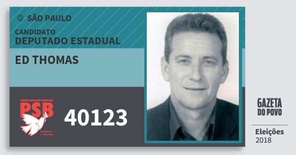 Santinho Ed Thomas 40123 (PSB) Deputado Estadual | São Paulo | Eleições 2018