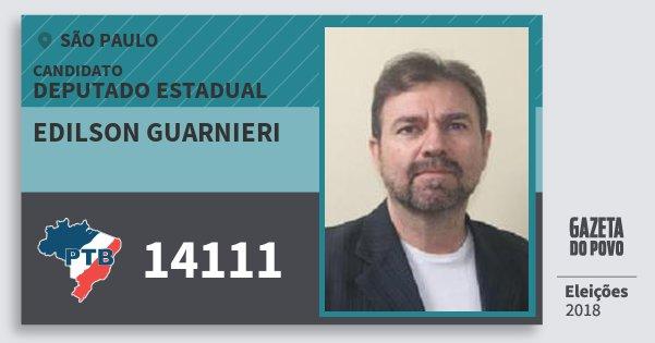 Santinho Edilson Guarnieri 14111 (PTB) Deputado Estadual | São Paulo | Eleições 2018