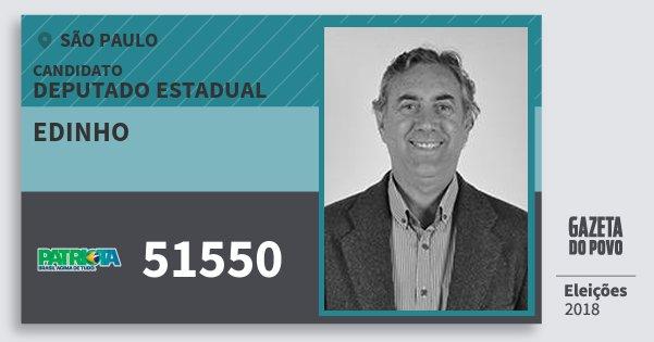 Santinho Edinho 51550 (PATRI) Deputado Estadual | São Paulo | Eleições 2018