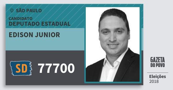 Santinho Edison Junior 77700 (SOLIDARIEDADE) Deputado Estadual | São Paulo | Eleições 2018
