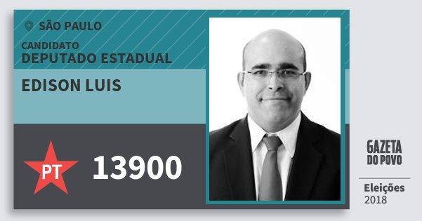 Santinho Edison Luis 13900 (PT) Deputado Estadual | São Paulo | Eleições 2018