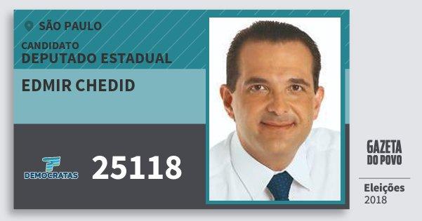 Santinho Edmir Chedid 25118 (DEM) Deputado Estadual | São Paulo | Eleições 2018