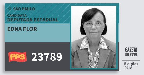 Santinho Edna Flor 23789 (PPS) Deputada Estadual | São Paulo | Eleições 2018
