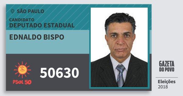 Santinho Ednaldo Bispo 50630 (PSOL) Deputado Estadual | São Paulo | Eleições 2018