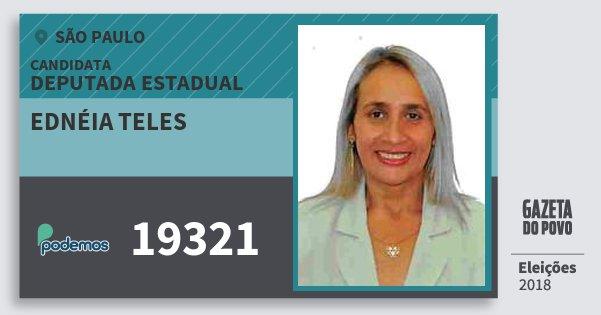 Santinho Ednéia Teles 19321 (PODE) Deputada Estadual | São Paulo | Eleições 2018