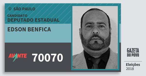 Santinho Edson Benfica 70070 (AVANTE) Deputado Estadual | São Paulo | Eleições 2018
