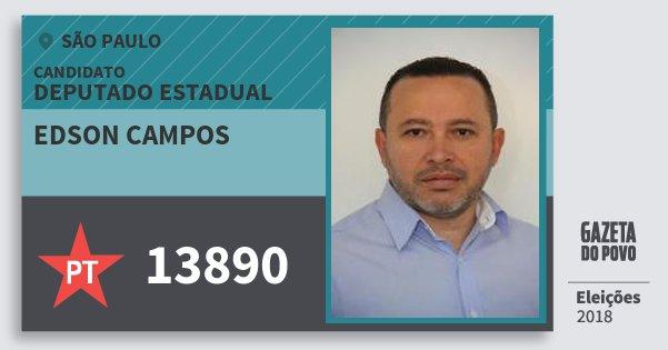 Santinho Edson Campos 13890 (PT) Deputado Estadual | São Paulo | Eleições 2018