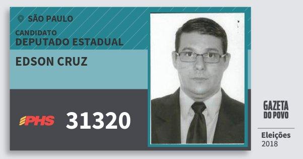 Santinho Edson Cruz 31320 (PHS) Deputado Estadual | São Paulo | Eleições 2018