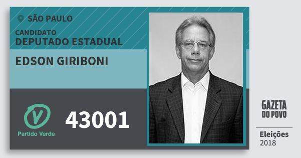 Santinho Edson Giriboni 43001 (PV) Deputado Estadual | São Paulo | Eleições 2018