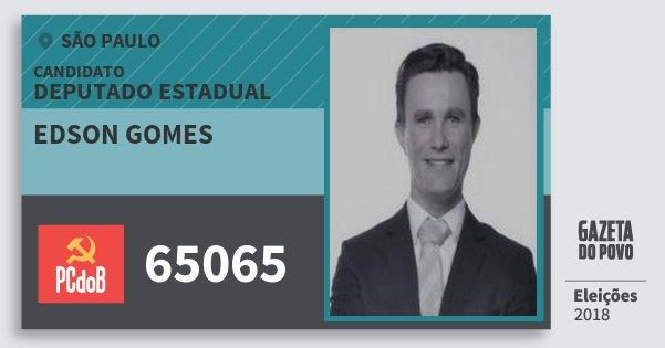 Santinho Edson Gomes 65065 (PC do B) Deputado Estadual | São Paulo | Eleições 2018