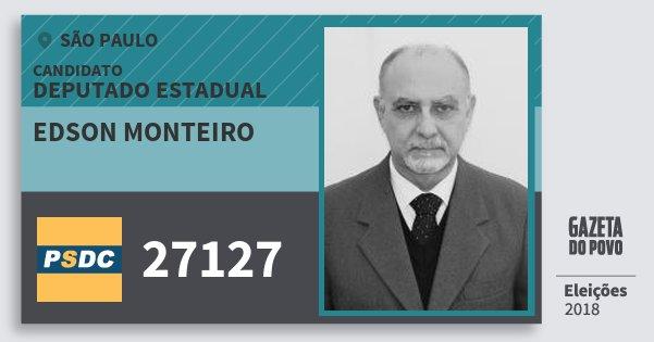 Santinho Edson Monteiro 27127 (DC) Deputado Estadual | São Paulo | Eleições 2018