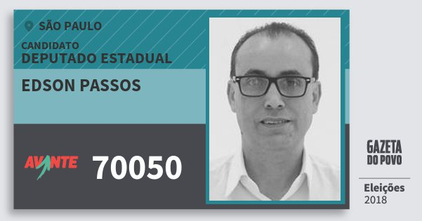Santinho Edson Passos 70050 (AVANTE) Deputado Estadual | São Paulo | Eleições 2018