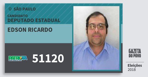Santinho Edson Ricardo 51120 (PATRI) Deputado Estadual | São Paulo | Eleições 2018