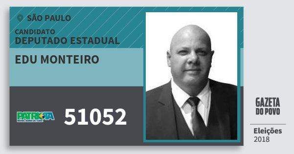 Santinho Edu Monteiro 51052 (PATRI) Deputado Estadual | São Paulo | Eleições 2018