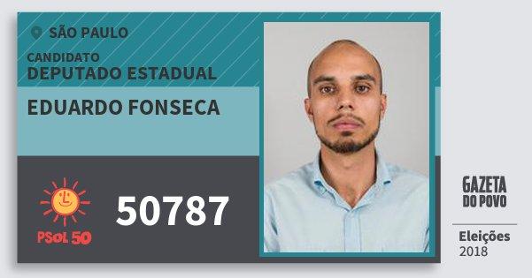 Santinho Eduardo Fonseca 50787 (PSOL) Deputado Estadual | São Paulo | Eleições 2018