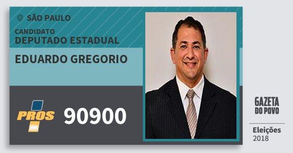 Santinho Eduardo Gregorio 90900 (PROS) Deputado Estadual | São Paulo | Eleições 2018