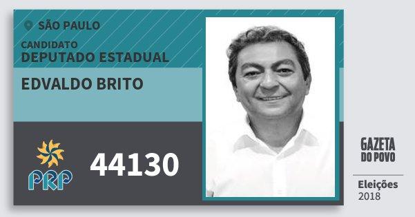 Santinho Edvaldo Brito 44130 (PRP) Deputado Estadual | São Paulo | Eleições 2018