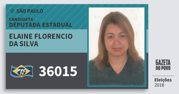 Santinho Elaine Florencio da Silva 36015 (PTC) Deputada Estadual | São Paulo | Eleições 2018