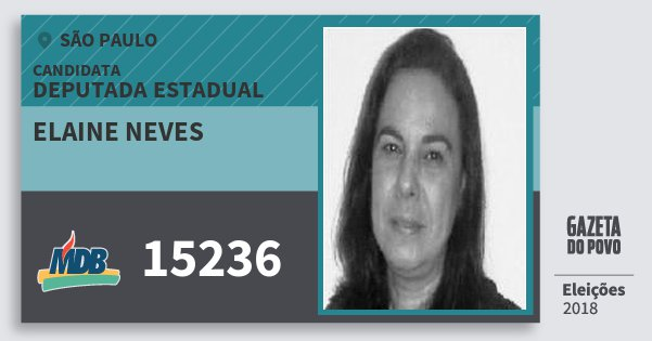Santinho Elaine Neves 15236 (MDB) Deputada Estadual | São Paulo | Eleições 2018