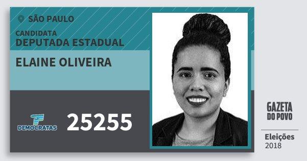 Santinho Elaine Oliveira 25255 (DEM) Deputada Estadual | São Paulo | Eleições 2018