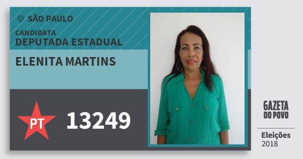 Santinho Elenita Martins 13249 (PT) Deputada Estadual | São Paulo | Eleições 2018