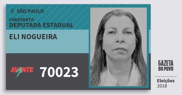 Santinho Eli Nogueira 70023 (AVANTE) Deputada Estadual | São Paulo | Eleições 2018