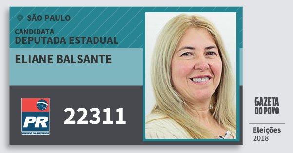 Santinho Eliane Balsante 22311 (PR) Deputada Estadual | São Paulo | Eleições 2018