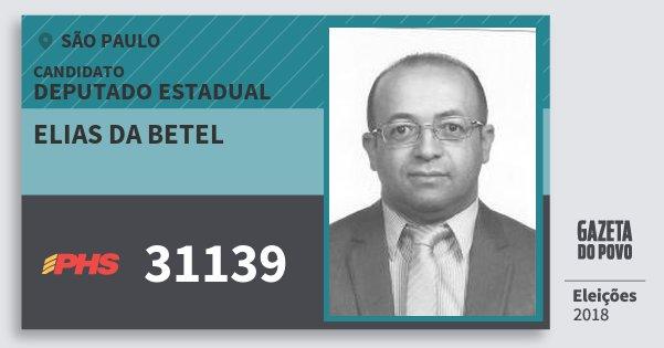 Santinho Elias da Betel 31139 (PHS) Deputado Estadual | São Paulo | Eleições 2018