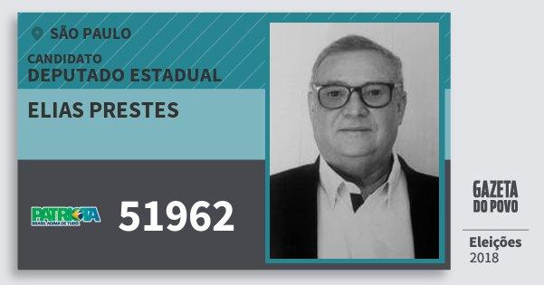 Santinho Elias Prestes 51962 (PATRI) Deputado Estadual | São Paulo | Eleições 2018