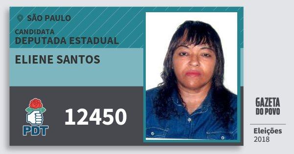 Santinho Eliene Santos 12450 (PDT) Deputada Estadual | São Paulo | Eleições 2018