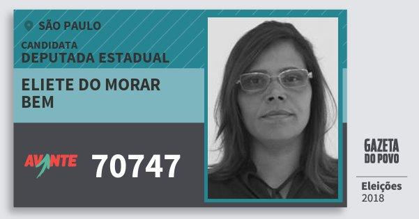 Santinho Eliete do Morar  Bem 70747 (AVANTE) Deputada Estadual | São Paulo | Eleições 2018